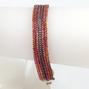 Beaded Herringbone Bracelet Seed Bead Jewelry