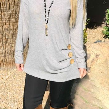Shrug Them Off 3-Button Sweater Top: Grey