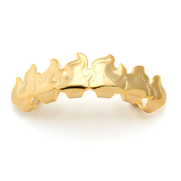 Gold Flame Cutout Top Grillz