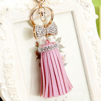 Leather Tassel Keychain Women Rhinestone Crystal Bowknot Keyring Bag Charm For Keys Jewelry Key Chain Holder Ring Car Pendant