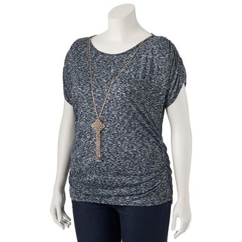 IZ Byer California Ruched Sleeve Top & Necklace - Juniors' Plus, Size:
