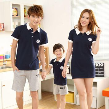 Mother & Kids Summer Family Home Clothing Short Sleeve Boys T-shirt + Shorts Outfits Mother Father Son Family Matching Outfits