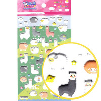 Alpaca Llama Sheep Shaped Puffy Stickers | Cute Animal Themed Scrapbook Decorating Supplies