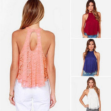 Women's Trending Popular Fashion Lace Yellow Casual Party Playsuit Clubwear Bodycon Boho Top Shrit T-Shirt Top Women Tank Vest Shirt T-shirt _ 4438