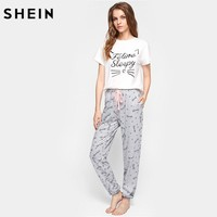 Cat Pattern Print Round Neck Short Sleeve Top and Pants Pajama Set Cute Sleepwear Pajamas for Women