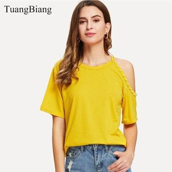 2018 Women Summer Short Sleeve T-shirt O-Neck Off Shoulder Beading Solid Color Tee-Shirts Female Autumn Sexy Party Girl New Tops