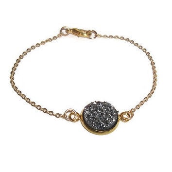 Black Sparkle Gold Chain Bracelet,Black Druzy Minimalism, Simple Modern Cute Dainty Chain Bracelet