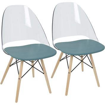 Tonic Mid-Century Modern Dining / Accent Chairs, Teal Blue (Set of 2)