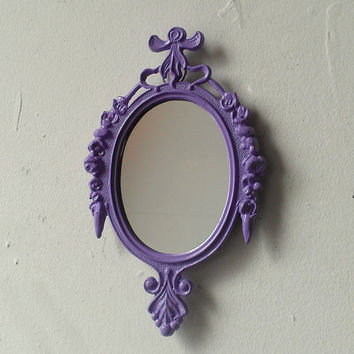 Framed Wall Mirror or Picture Frame in Upcycled Vintage Lavender Frame