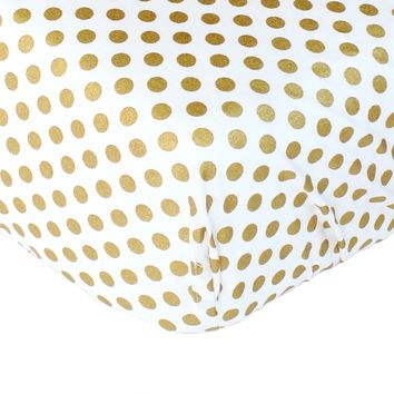 Metallic Gold Dots Fitted Crib Sheet - Fits Standard Crib Mattresses and Daybeds soft fabric