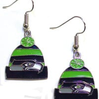 Seattle Seahawks Knit Hat Earrings