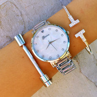 T Cuff Screw Bracelet & Watch Stack
