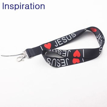 I Love Jesus Lanyard Neck Strap for keys ID Card Mobile Phone Straps for Huawei USB Badge Holder DIY Hang Rope Necklace