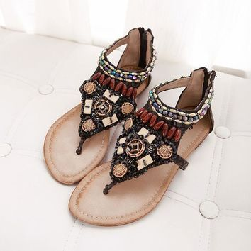 Design Stylish Summer Vintage Bohemia Flat Rhinestone Wedge Sexy Shoes Sandals [6031702721]