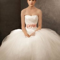 Ball Gown with Asymmetrically Draped Bodice - David's Bridal - mobile
