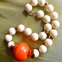 Orange Ivory Necklace, DONALD STANNARD, Beaded Vintage Signed