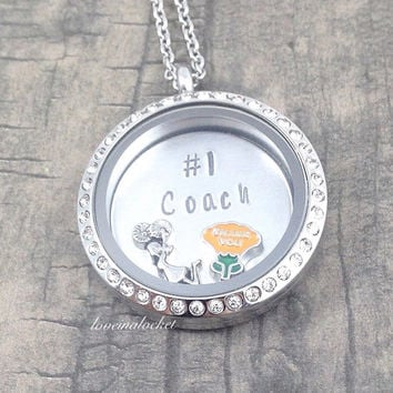 Cheer Coach Necklace, Cheer Coach Locket, Cheer Coach Gift, Floating Locket, Hand Stamped Locket, Gift for Cheer Coach, Cheerleading Gift