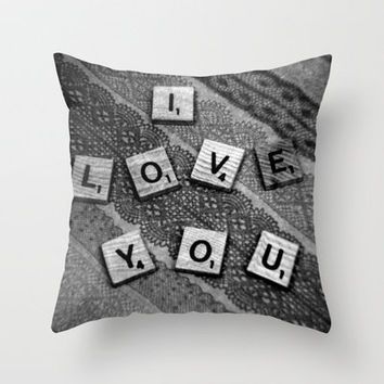 I Love You Darling in Black and White Throw Pillow by Stacy Frett
