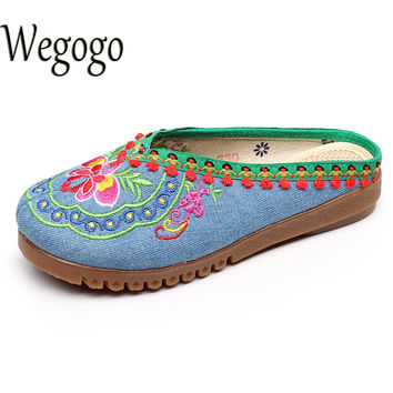 Wegogo Women Slippers Summer Vintage Nepal Islamic Travel National Embroidered Boho Chinese Flower Sandals Shoes For Woman