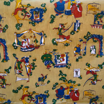 Vintage Reclaimed Disney Robin Hood Fabric Panels 1970s 43 Wide x 41 Inches Each 2 Piece Lot Used Clean Kids Fabric HTF