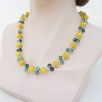 Jade and Quartz Necklace, Jade and Quartz Wire Wrapped Necklace, Yellow and Green Necklace, Gemstone Wire Wrapped Necklace