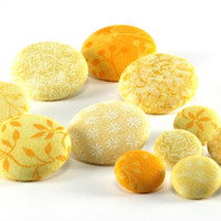 Fabric Buttons - Yellow Mix, Morning Sun - 6 Medium Or 6 Small Sized Gold, Lemon, Corn, Banana Yellow, Orange Fabric Covered Buttons, Sewing