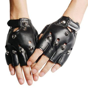 ac PEAPO2Q Unisex Cool BLACK Punk Rock Studded LEATHER LOOK FINGERLESS GLOVES