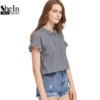 Women's Blouses Peter Pan Collar Tie Back Ruffle Sleeve Gingham Top Black and White Short Sleeve Plaid Blouse
