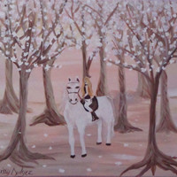 Girls Horse Painting, White Horse Art, Pink, Painting on Canvas, Girls Room Decor, 20x16