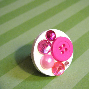 Valentines Day  pink button ring by Stargazer02 on Etsy