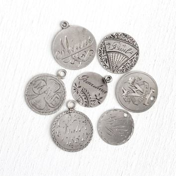 Victorian Love Tokens - Silver Antique Charms Pendants Paul , Willie , Sister , Grandma , Mame , Maggie , Minne - 1800s Coins Name Jewelry
