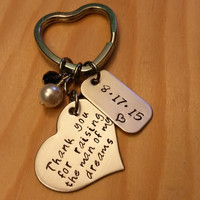 Hand Stamped Thank you for raising the man of my Dreams keychain - Mother of the Groom gift - Wedding Day