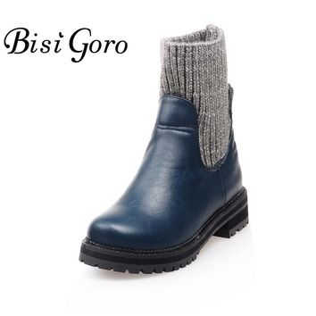 BISI GORO Autumn and Winter Shoes Women Low Heel Women Leather Ankle Boots Heel Blue and Black Female Winter Boots 2017