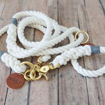 Natural White Dog Leash - Grey Hemp Twine