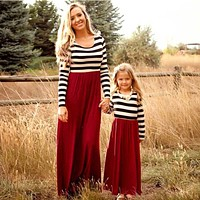 Mother daughter Matching clothes Striped Long sleeve Patchwork