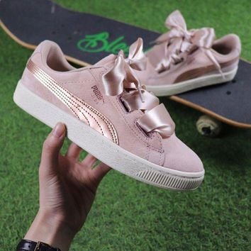 CREYNW6 Sale Puma Suede Heart Trainer Shoes Pink Gold Casual Shoes Low-Top Sneakers