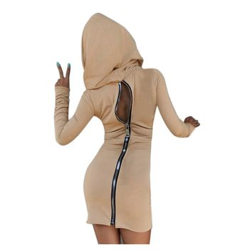 Vestidos zipper hooded mini dress