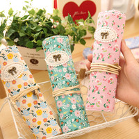 Cute Kawaii Roll Floral Canvas Pencil Case Flower Pen bag Zakka Stationery estuches School Supplies Gift