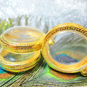 35mm Gold Circle Engrave Pendant Cases,Set of 3,Supply, Reliquaries, Pendants, Clear Locket, Necklace Containers, Art,Craft