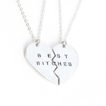 silver best bitches necklace, BFF best friends necklace jewrlry, broken heart set,friendship necklace, Christmas gift, best bitches jewelry