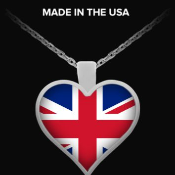 United Kingdom Flag Heart Necklace