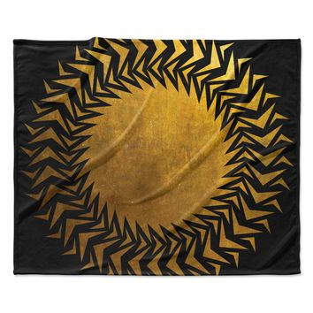 "Matt Eklund ""Gilded Chaos"" Gold Geometric Fleece Throw Blanket"