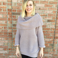 MODERN MAUVE COWL NECK SWEATER