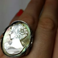 Cameo Ring, Mother Of Pearl, Sterling Silver, Handmade Any Size, Green Pink Flash