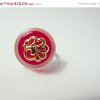 FALL CLEARANCE GEOMETRIC Modern Boho: Red Is The Color Of Love Button Ring.