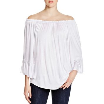 Cupio Womens Ruched Neck Ruffled Sleeves Peasant Top