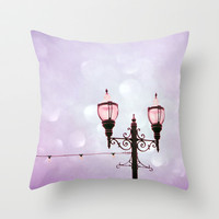 Lamplight of Cotton Candy Dreams Throw Pillow by Lisa Argyropoulos