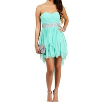 Mint Beaded Hi Lo Dress