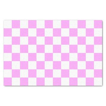 Light Pink and White Checkerboard Pattern Tissue Paper