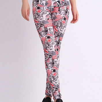 High Waist Flag Print Pencil Leggings